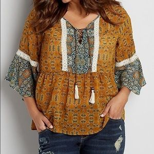 Maurice's flowy peasant blouse 0X